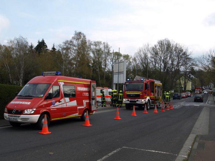 Übung Verkehrsunfall eingesetzte Fahrzeuge